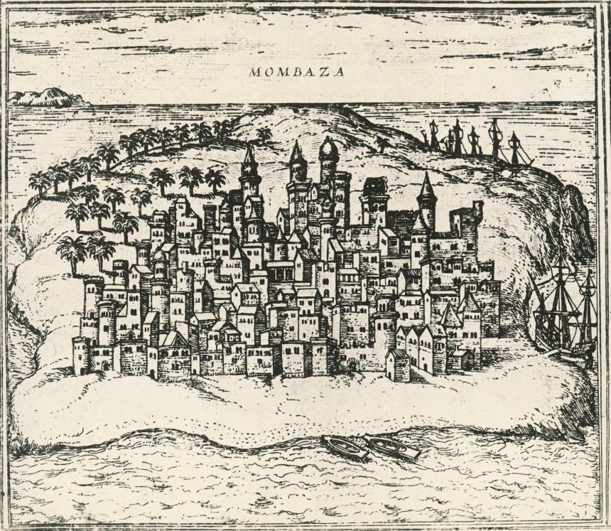 Mombasa in Kenya, in the Civitates Orbis Terrarum of 1572.