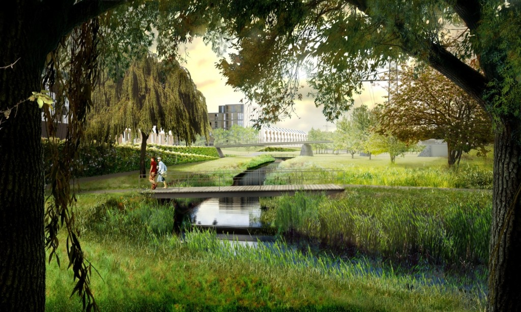 The Barking Riverside development aims to transform the risk of flooding into a feature of the landscape, with areas of land given back to water, restoring its former function as a floodplain of the River Thames and connecting into the existing East London Green Grid ecological network. The parkland incorporates flood compensation areas for when a heavy storm event coincides with the high tide Illustration: Gustafson Porter.