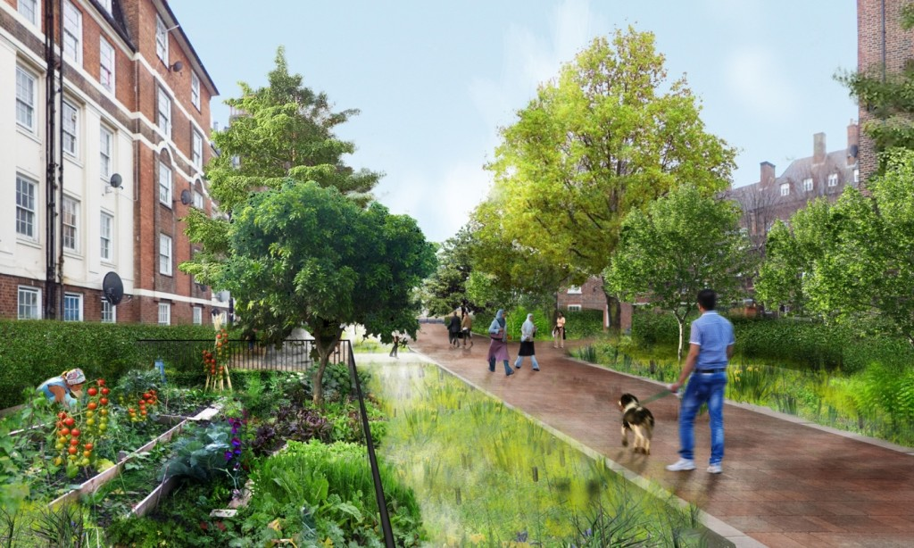 Church Street and Paddington Green is an area in London with over-capacity drainage and flooding. A new public realm plan involves a 500% increase in trees as well as rain garden attenuation which will manage water greater than the volume of an Olympic-sized swimming pool Illustration: Grant Associates.