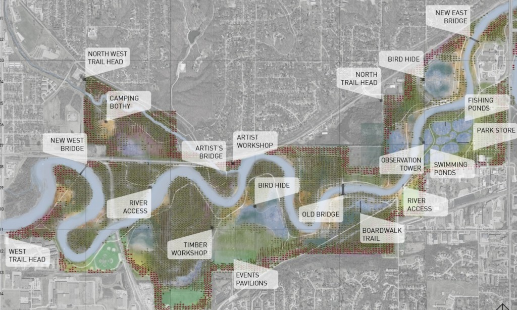 Park Works is an explorative project for the 1,500 acre Water Works park in Des Moines, Iowa, proposing a 'responsive, interactive and open-source park'. The park is embedded with sensors which warn of impending floods Illustration: Project Studio / Ed Wall / Aaron Carpenter.