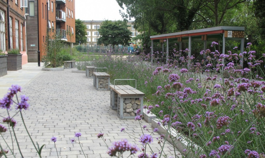 The new Derbyshire Street Pocket Park in Bethnal Green, London, incorporates sustainable urban drainage to better manage surface water run off, green-roof covered bike racks and bin stores, and bespoke planters that capture rainwater Photograph: Greysmith Associates.