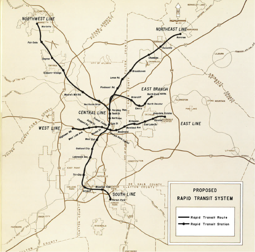 """A Plan and Program of Rapid Transit for Metropolitan Atlanta,"" 1967. (MARTA)."