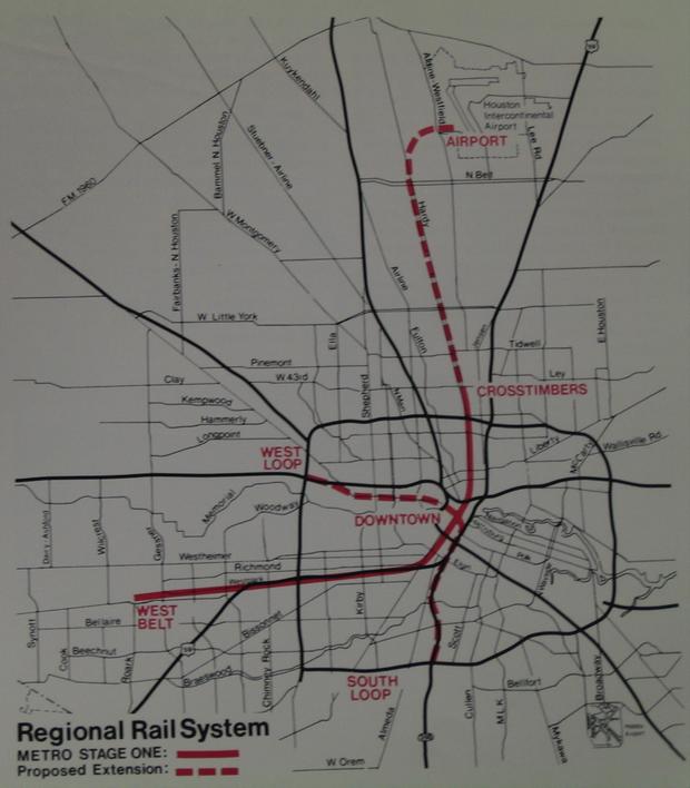 """Regional Transit Program: Metro Stage One,"" October 1982, Texas Department of Transportation, Houston Branch. (Houston METRO)."